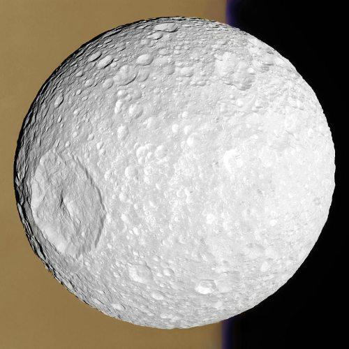 Saturn's Death Star moon, Mimas, as seen by the Cassini orbiter. [Credit: Cassini Imaging Team, ISS, JPL, ESA, NASA; Digital Processing: Supportstorm]