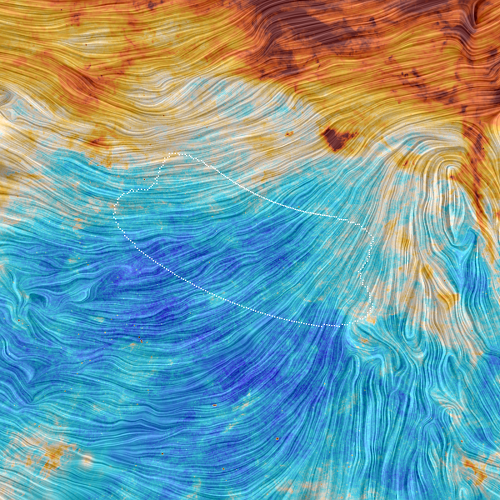 Colorful visualization of Planck data in the region of BICEP2; click on the image for an even higher-resolution version. [Credit: ESA/Planck Collaboration/M.-A. Miville-Deschênes, CNRS – Institut d'Astrophysique Spatiale, Université Paris-XI, Orsay, France]