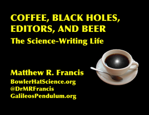 Yes, that is a black hole in that cup of coffee. It's called Cygnus X-1, and it's the first black hole scientists established as one. (It's not the absolute first black hole discovered, but that's a long story for another day.) [Credit: Illustration by moi, X-ray image from NASA/CXC/M.Weiss]