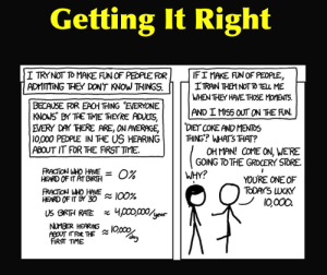 "xkcd's ""lucky 10,000"": rather than think of someone as ignorant, think of them as the lucky person to learn something new and awesome. [Credit: Randall Munroe. Click for the original comic]"