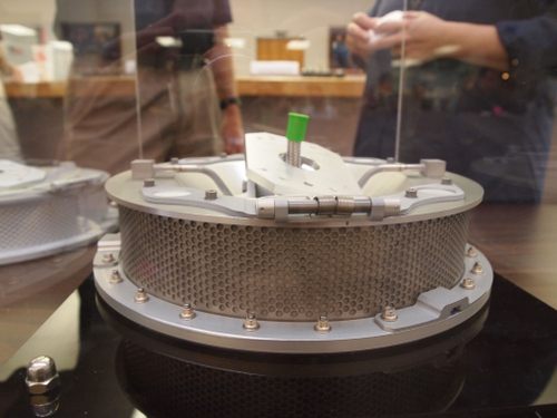 The prototype of the snorfler, the business end of the sampling arm on OSIRIS-REx. This device will pump nitrogen gas into the dust and rock on the asteroid's surface and collect what gets dislodged for return to Earth. [Credit: moi]