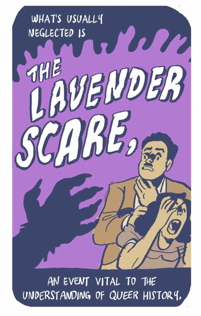 "panel from ""The homophobic hysteria of the Lavender Scare"" by Dorian Alexander, showing a sinister hand menacing two screaming people over a lavender-colored background"